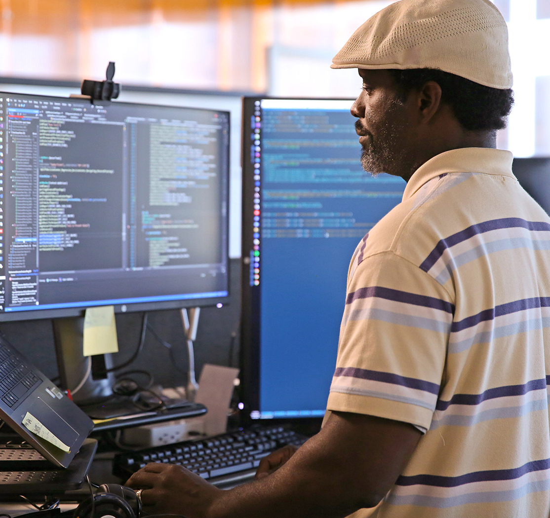 eMoney team member working at a computer